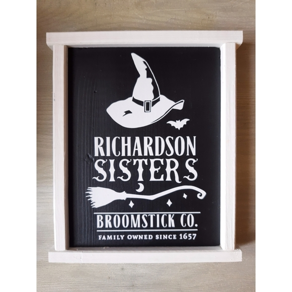 Vintage Halloween Themed Witch Broom Hanging Sign